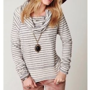 Free People cowl neck raw hem striped pullover